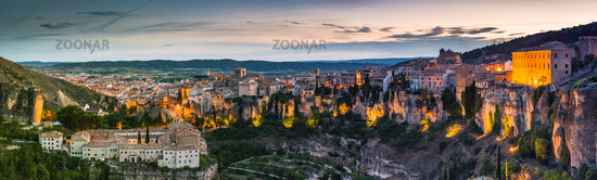 Large panoramic image of Cuenca hanging houses and cliffs,Spain