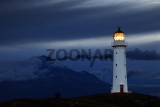 Cape Egmont Lighthouse and Taranaki Mount on background