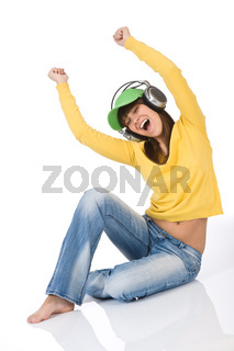 Female teenager enjoy music with headphones