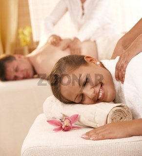 Couple getting back massage