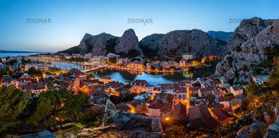 Aerial Panorama of Omis and Cetina River Gorge in the Evening, Dalmatia, Croatia
