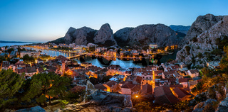 Aerial Panorama of Omis and Cetina River Gorge in the Evening, Dalmatia, Croatia