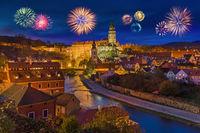 Cesky Krumlov and fireworks in Czech Republic
