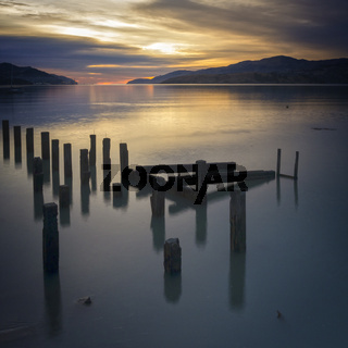 Sunrise Over Water Banks Peninsula New Zealand