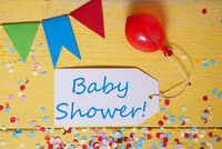 Party Label, Confetti, Balloon, Text Baby Shower