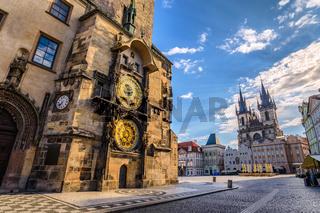 Prague old town square and Astronomical Clock Tower, Prague, Czech Republic