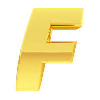 Gold alphabet symbol letter F with gradient reflections isolated on white. High resolution 3D image
