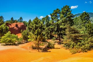 The orange-yellow hills of natural dye