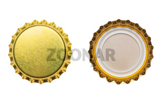 yellow bottle caps isolated on white background