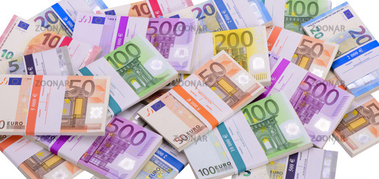 euro banknotes in group