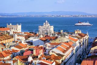 View over the roofs of downtown Lisbon to Tagus river, Portugal