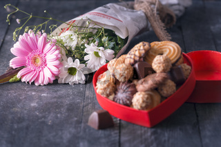 Bouquet of flowers on wooden table