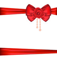 Red bow with rose and pearls for packing gift Valentine Day