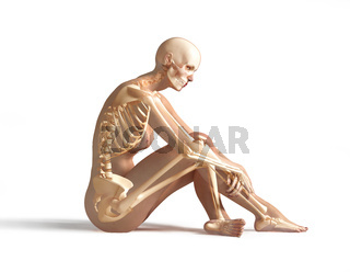 Woman sitting on floor, with bone skeleton.