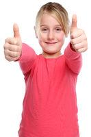 Mädchen Kind lachen glücklich Daumen hoch Freisteller freigestellt isoliert