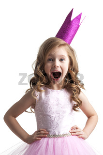 Little princess girl in pink crown