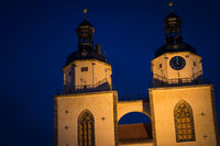 Church in the city of Wittenberg at dusk