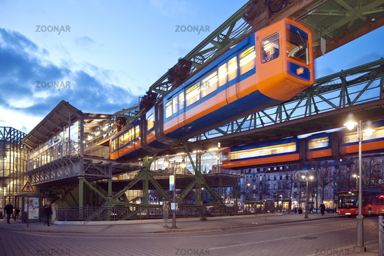 two suspension railways at the station Oberbarmen, Wuppertal, Bergisches Land, Germany, Europe