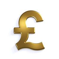 Gold Pound Symbol. 3D Render Illustration
