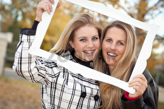 Pretty Mother and Daughter Portrait in Park with Frame