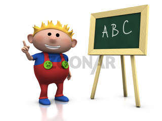 blond boy with blackboard