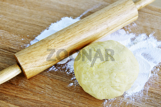 Rolling pin and cookie dough