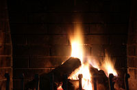 Fire in a fireplace