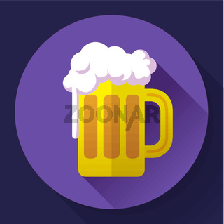 Vector beer glass cup icon. Oktoberfest logo. Flat designed style
