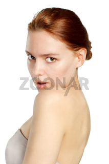 Young woman portrait Isolated on white.