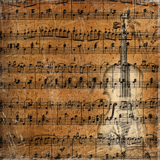 Grunge musical background with the sketch of an old violin