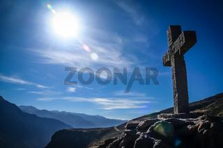 Cross in Colca Canyon in Peru