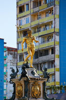 Golden fountain sculpture in Batumi, Georgia