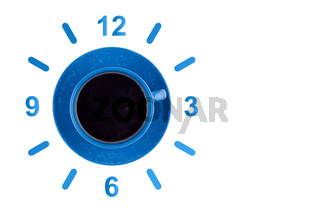 Coffee in blue cup with dial top view.