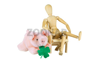 Wooden mannequin is wishing good luck