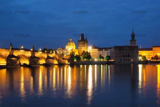 Night scene of the city Prague, Czech Republic