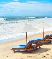 Deck chairs at Bali beach