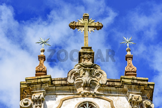 Church baroque style stone crucifix and ornaments