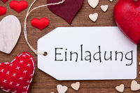 Label, Red Hearts, Flat Lay, Einladung Means Invitation