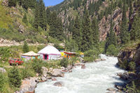 Yurt camp, Grigorievka gorge, Kungei Alatoo Mountains, Kyrgyzstan