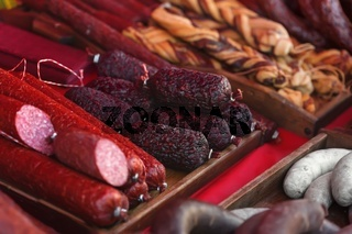 Sale of homemade sausages, salami and other meat products