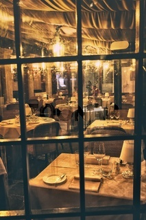 View through window inside a romantic restaurant