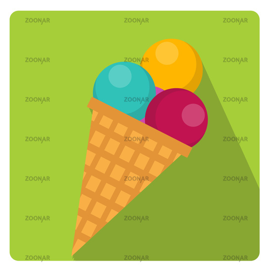 Ice cream cone icon flat style with long shadows, isolated on white background. Vector illustration.