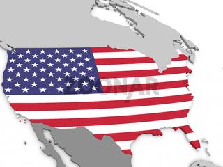 USA on globe with flag