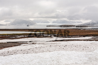 Tundra and mountains from Ny Alesund, Svalbard islands