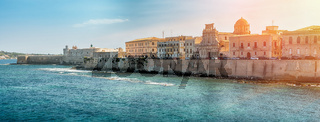 Coast of Ortigia island at city of Syracuse, Sicily, Italy