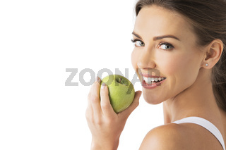 Woman hold green apple