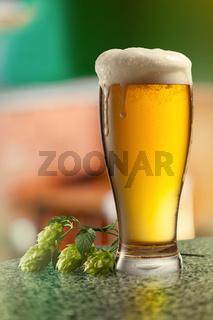 Glassof keg of beer and hops.