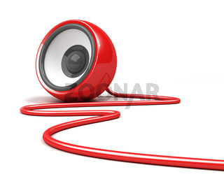 red speaker with cable over white background