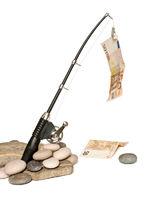 Fishing rod while fishing euro bill
