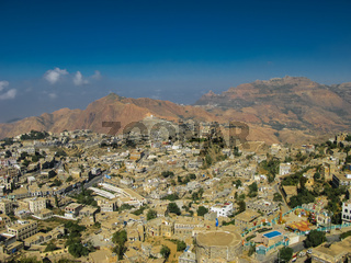 Aerial view to Hajjah city and Haraz mountain Yemen